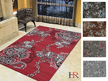 Amazon Com Handcraft Rugs Red Grey Silver Black Abstract Area