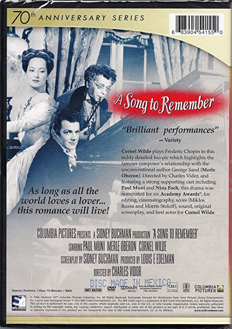 Amazon.com: A Song To Remember - 70th Anniversary: Paul Muni, Merle Oberon, Cornel Wilde, Clarence Brown: Movies & TV