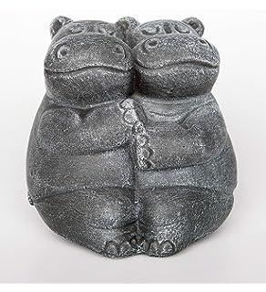 Deko Garten Figur Steinfigur Nilpferd Stein Frostsicher Hippo Terrakotta