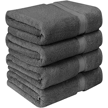 Utopia Towels Premium Bath Towels (Pack of 4, 27 x 54) 100% Ring-Spun Cotton Towel Set for Hotel and Spa, Maximum Softness and Highly Absorbent (Grey)