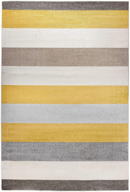 Carpetforyou Designer Moderner Kurzflor Teppich Desert Stripes grau gelb Streifen in 4 Größen für Wohnzimmer Schlafzimmer Jugendzimmer Kinderzimmer (160 x 230 cm)