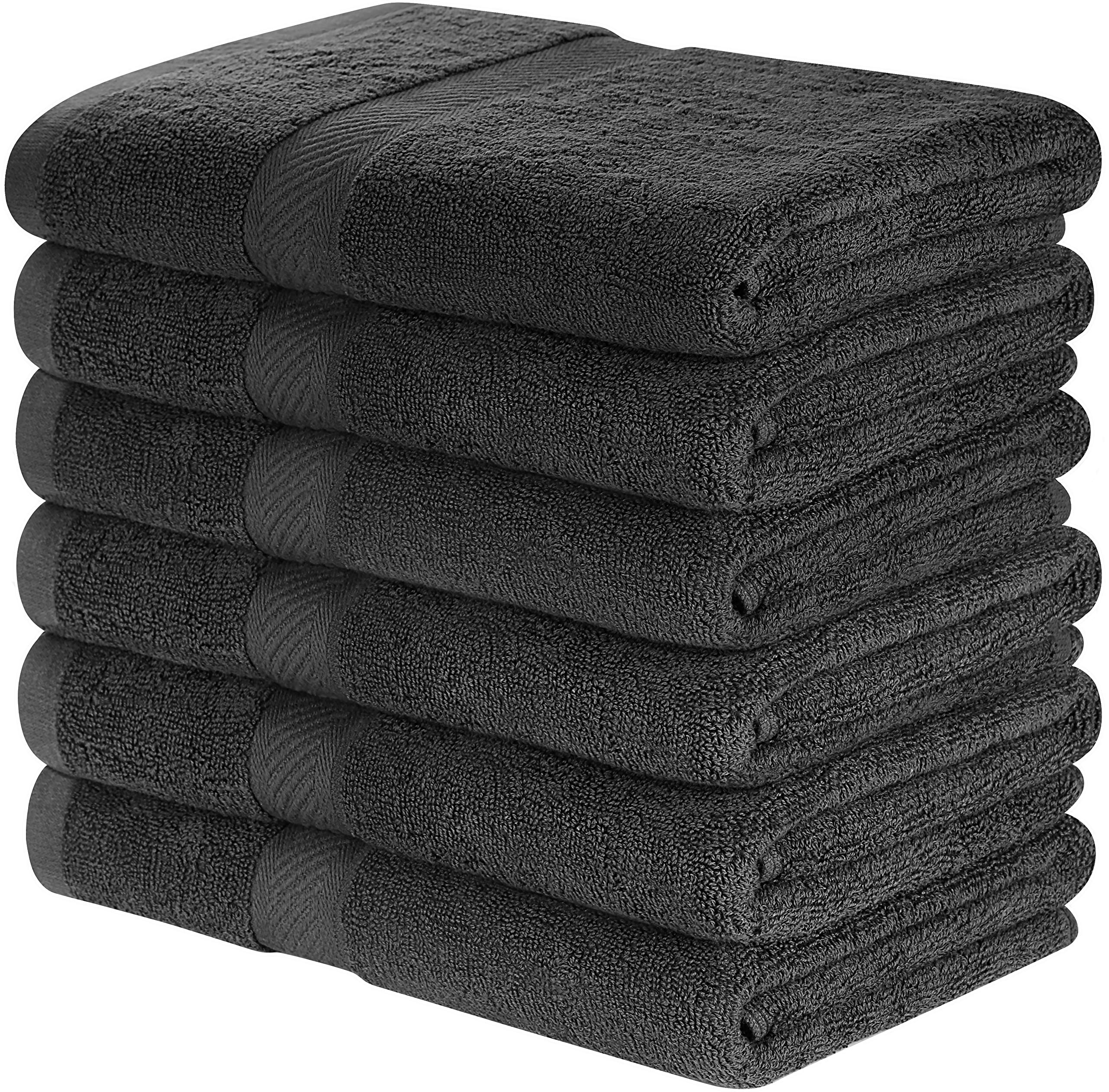 Utopia Towels Cotton Bath Towels (6 Pack, 24 x 48 Inch) - Lightweight Multipurpose Pool Gym Towels Quick Drying Towel - Grey