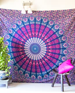 Folkulture Peacock Parade Bohemian Tapestry Hippie Wall Hanging, Indian  Mandala Bedspread For Bedroom, Blue Part 60