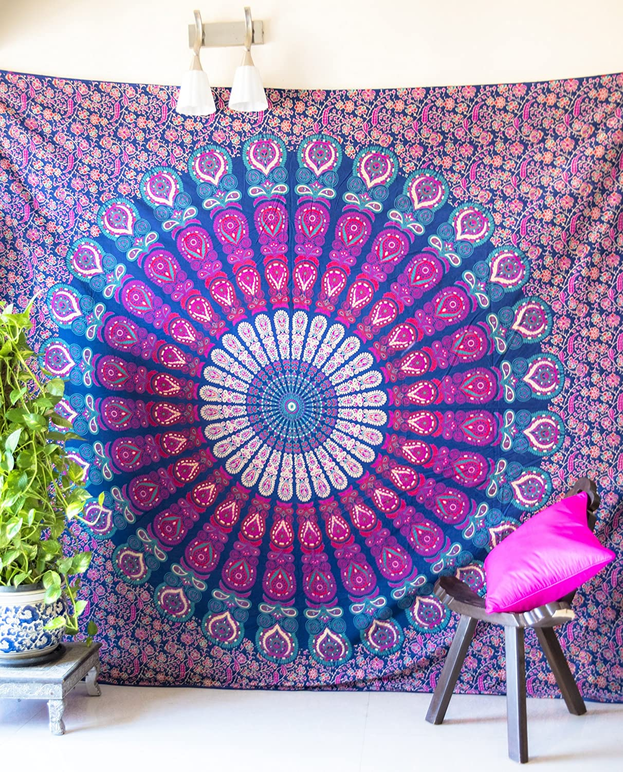 bedroom tapestry. Amazon com  Folkulture Peacock Parade Bohemian Tapestry Hippie Wall Hanging Indian Mandala Bedspread for Bedroom Blue Bedding Blanket or College Dorm Room