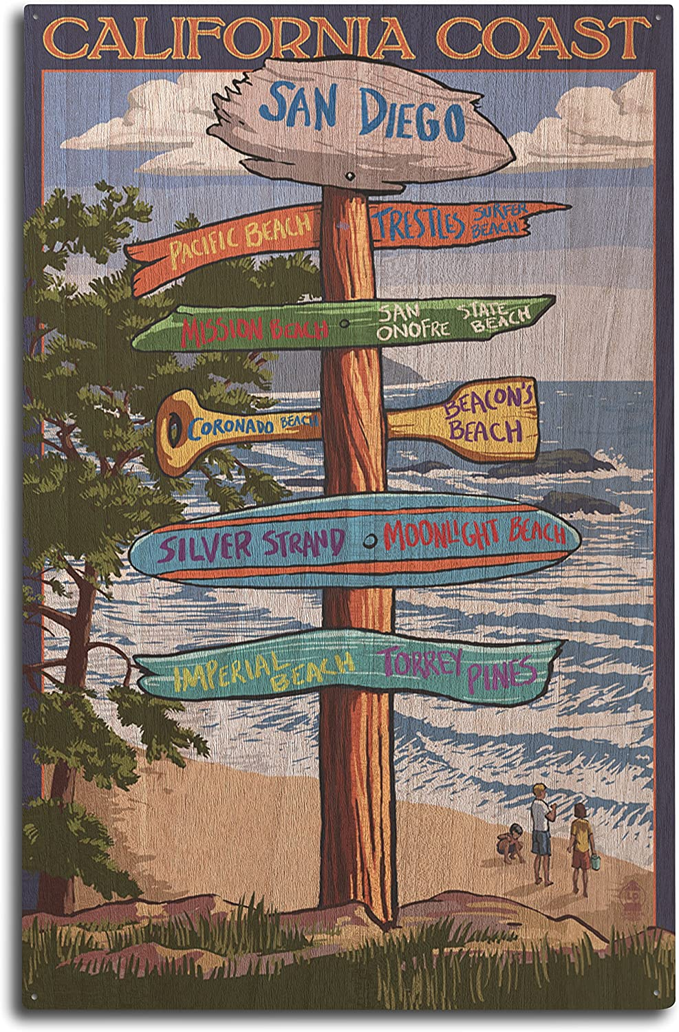 Lantern Press San Diego, California - Destinations Sign (10x15 Wood Wall Sign, Wall Decor Ready to Hang)