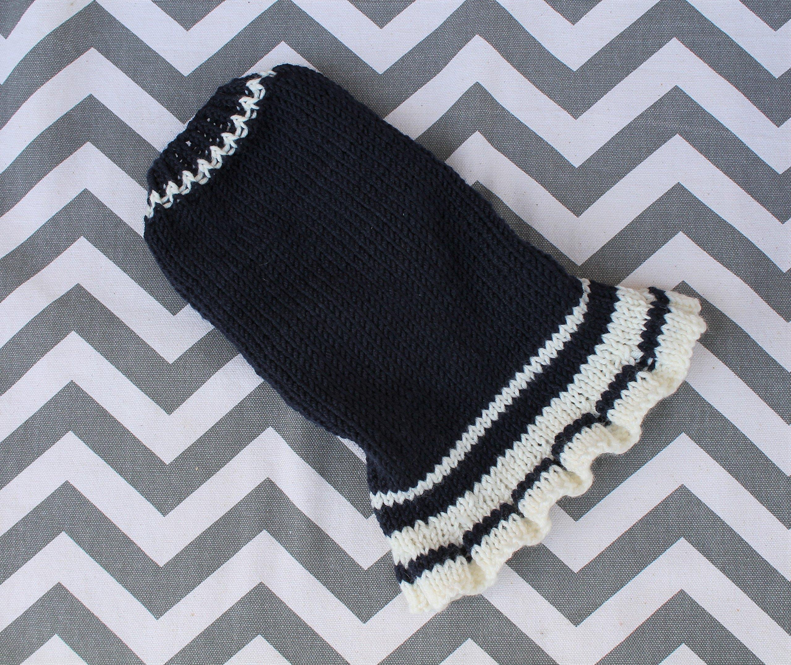 Merino Wool Dog Puppy Sweater XXS/XS 2 1/2 to 4 Lbs Cheer Schoolgirl Pleated Ruffle Dress Navy/White Chihuahua Yorkie Pomeranian Maltese Teacup
