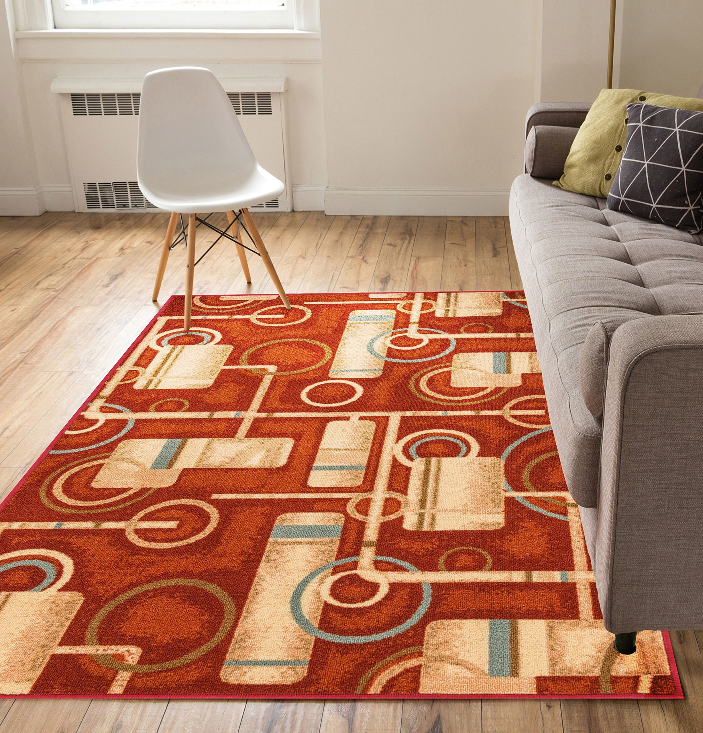 Non-Skid Slip Rubber Back Antibacterial 8x10 ( 7'10'' x 9'10'' ) Area Rug Soho Circles Red Modern Geometric Thin Low Pile Machine Washable Indoor Outdoor Kitchen Hallway Entry