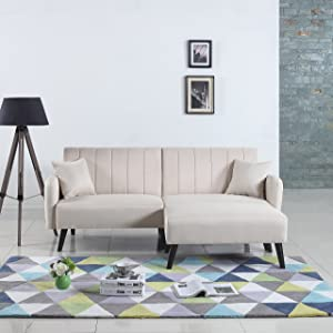 Divano Roma Furniture Mid-Century Modern Linen Fabric Futon Sofa Bed, Living Room Sleeper Couch (Beige), Small