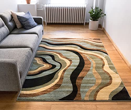 Well Woven Barclay Nirvana Waves Multi / Blue Modern Area Rug 7'10″ X 9'10″