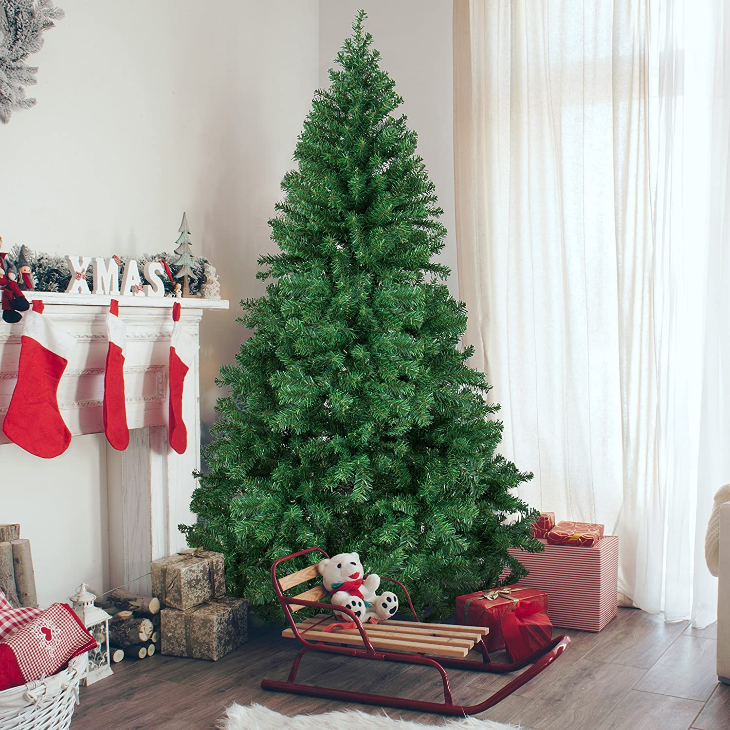 Best Choice Products 6' Premium Hinged Artificial Christmas Pine Tree with Solid Metal Legs 1000 Tips Full Tree SKY2359