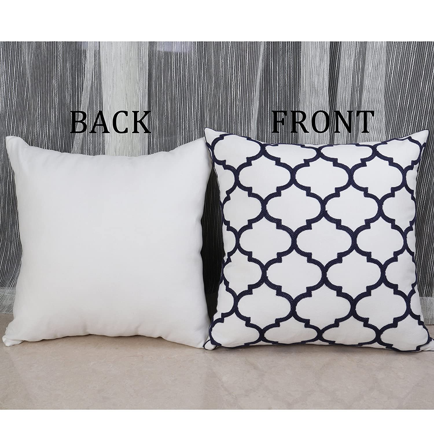 Black Pack of 1 Bridgeso Elegant Throw Pillow Case Black Floral embroidered Soft Cotton Linen Blend Decorative Pillow Cover Sham for Couch 45 x 45cm 18 x 18 inch
