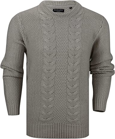 Mens Brave Soul Sweater Knitted Pullover Sweatshirt Warm Winter Jumper Casual L