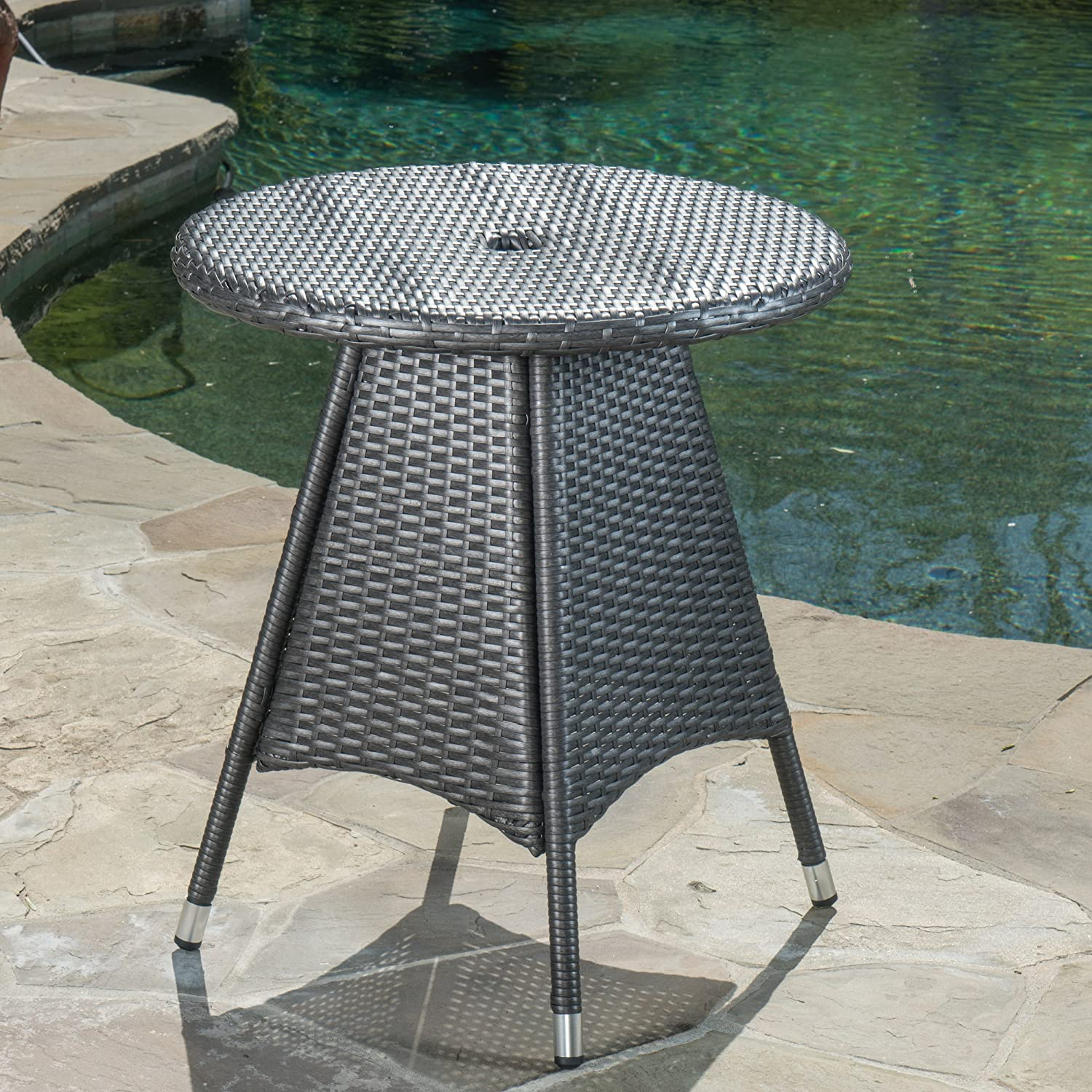 Gray Christopher Knight Home 300561 Colonial Outdoor Grey Wicker Round Bistro Table