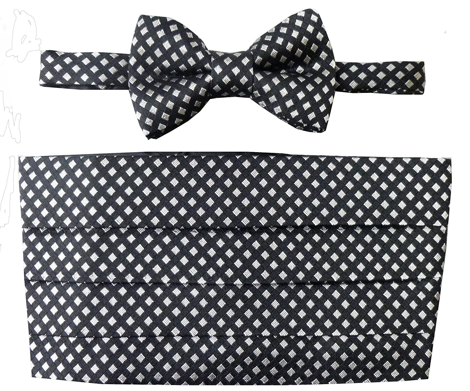Black & Silver Harlequin Check Cummerbund Set (Includes Bow Tie & Pocket Square)