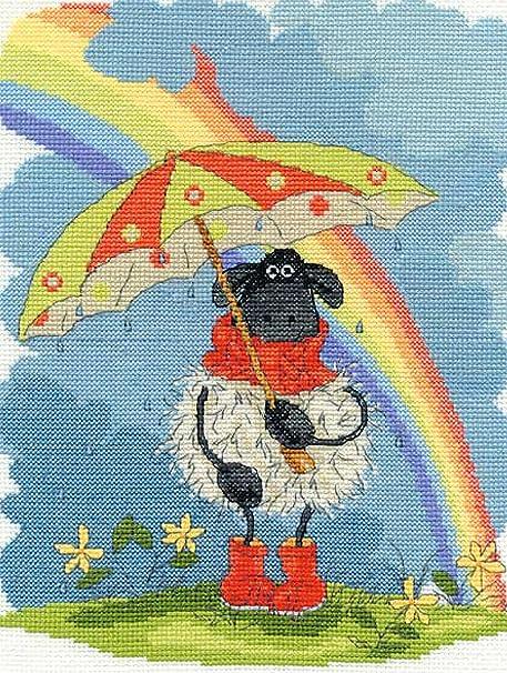 """De la serie de punto de """"diseño de oveja con paraguas y arco iris"""""""