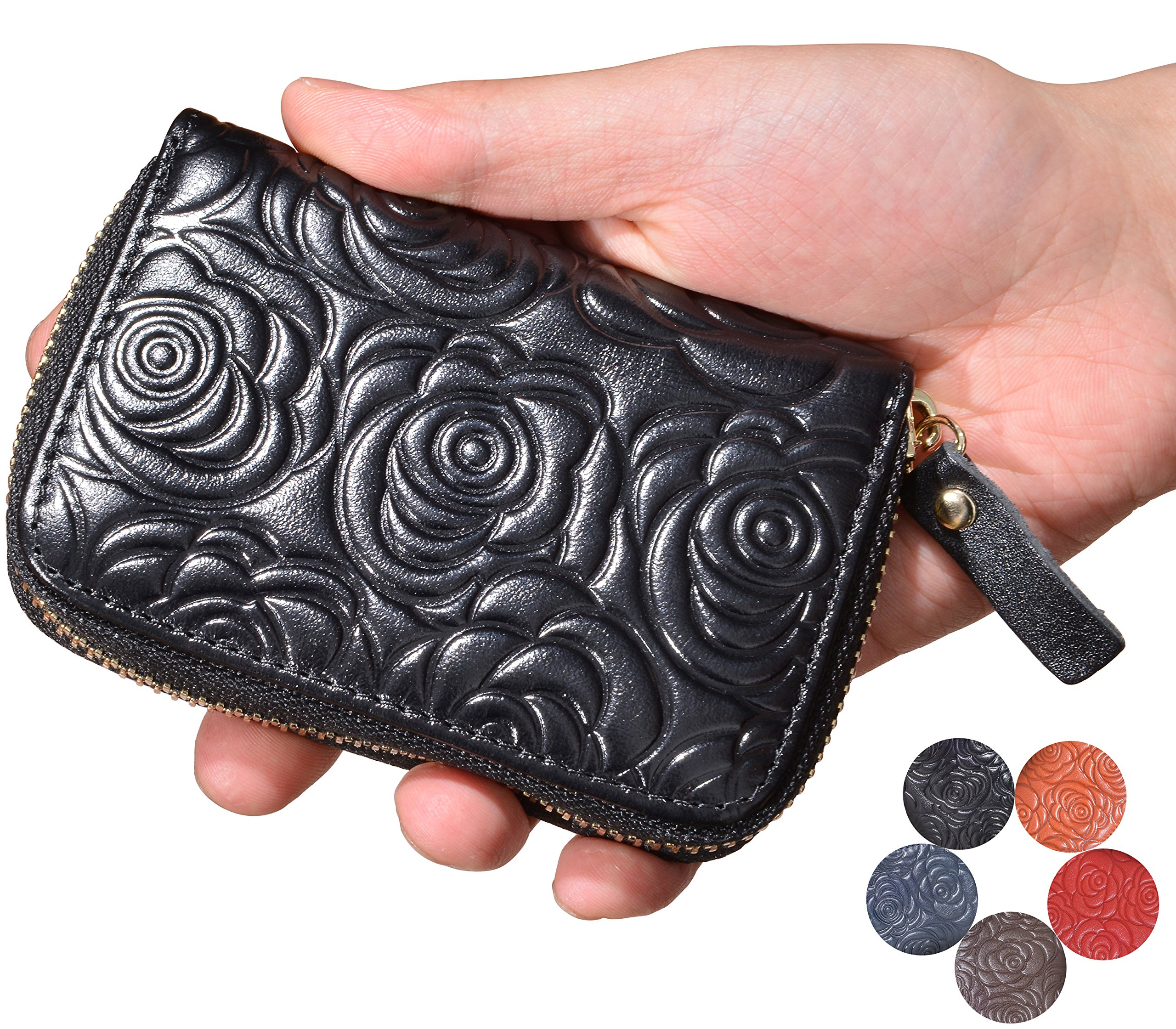 Beurlike Women's Floral Leather Credit Card Holder RFID Security Small Wallet (Black)