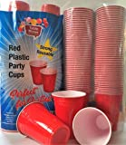 Red Plastic Party Cup, Cold Cup, Strong, 16 Ounce, 100 Count, No BPA, Durable PVC Material, Reusable, Disposable Cold Drink Cups,Will Not Break Or Split.