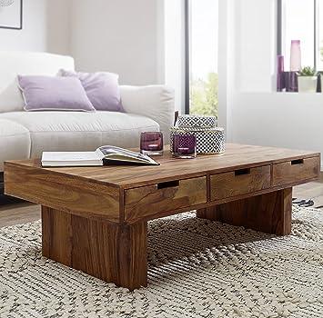 Couchtisch holz design  FineBuy Couchtisch Massivholz Design Wohnzimmer-Tisch 110 x 60 cm 3 ...