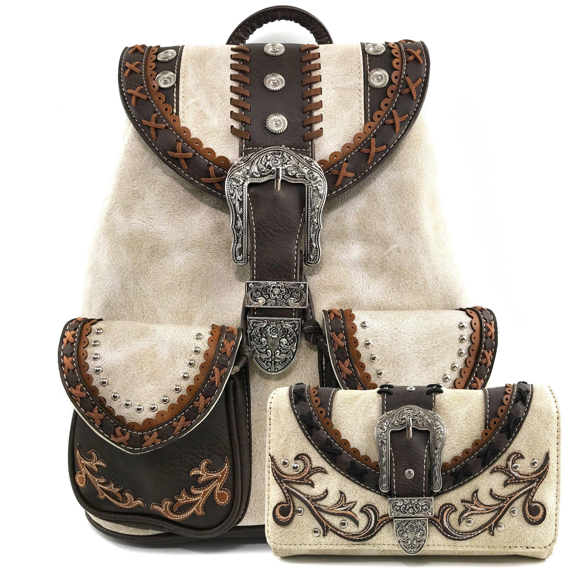 Justin West Trendy Western Rhinestone Leather Conceal Carry Top Handle Backpack Purse (Western Beige Backpack Wallet Set)