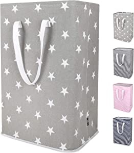 DOKEHOM 24-Inches Thickened X-Large Laundry Basket with Drawstring, Waterproof Square Cube Cotton Linen Collapsible Storage Basket (Grey Star, XL)