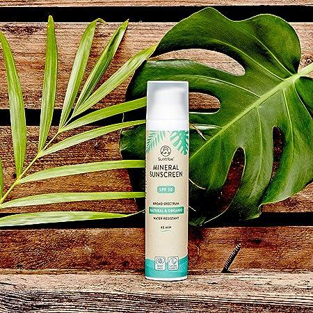 Suntribe Protector Solar Todo Natural Mineral - Cuerpo & Cara - FPS 30 - Resistente al agua - 7 Ingredientes - Seguro para arrecifes - 100% Zinc (Filtro UV Mineral)- De Blanco a Transparente (100ml)