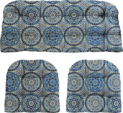 RSH D cor Indoor Outdoor 3 Piece Tufted Wicker Settee Cushions 1 Loveseat 41 Lx19 D 2 U-Shape 19 x19 Weather Resistant Blue Print Patterns Wheel Indigo – Blue, Ivory Large Sundial