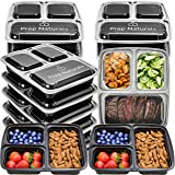 Meal Prep Containers 3 Compartment - Food Storage Containers with Lids [Comparable to Tupperware Set ] - Thick BPA Free Reusable Bento Lunch Box for Portion Control 21 Day Fix [15-Pack]