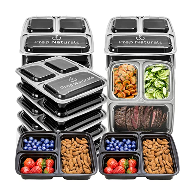 Meal Prep Containers 3 Compartment - Plastic F...