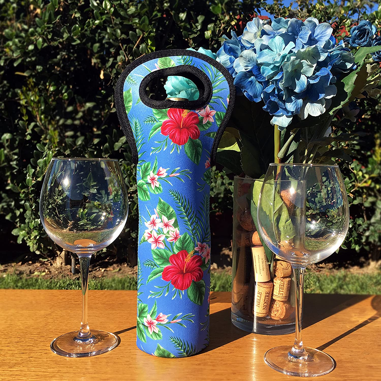 Aloha Hawaii Designs Floral Print Neoprene Fabric Wine Bottle Totes (Set of Three)