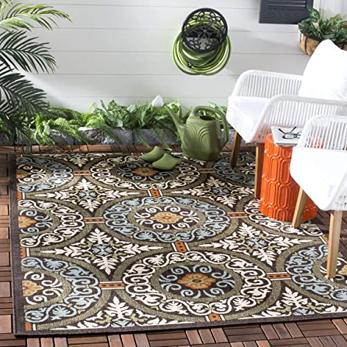 Safavieh Veranda Collection VER055-0723 Indoor/ Outdoor Chocolate and Aqua Contemporary Area Rug 4' x 5'7″