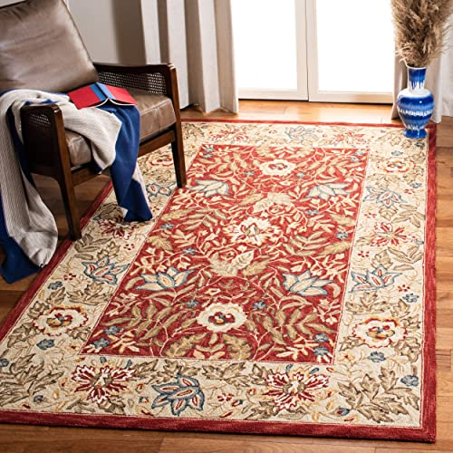 Safavieh Chelsea Collection HK140C Hand-Hooked Red and Ivory Premium Wool Square Area Rug 8 Square
