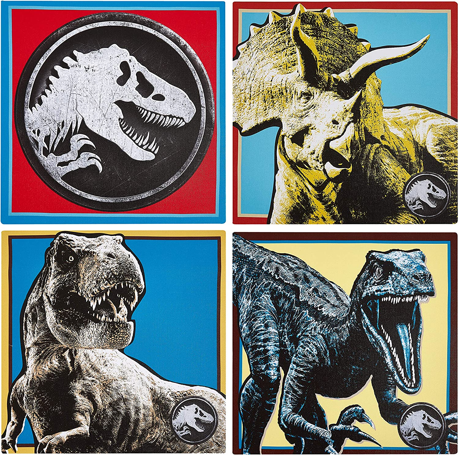 Jurassic World 4 Pack Square Canvas Wall Art Set, 11