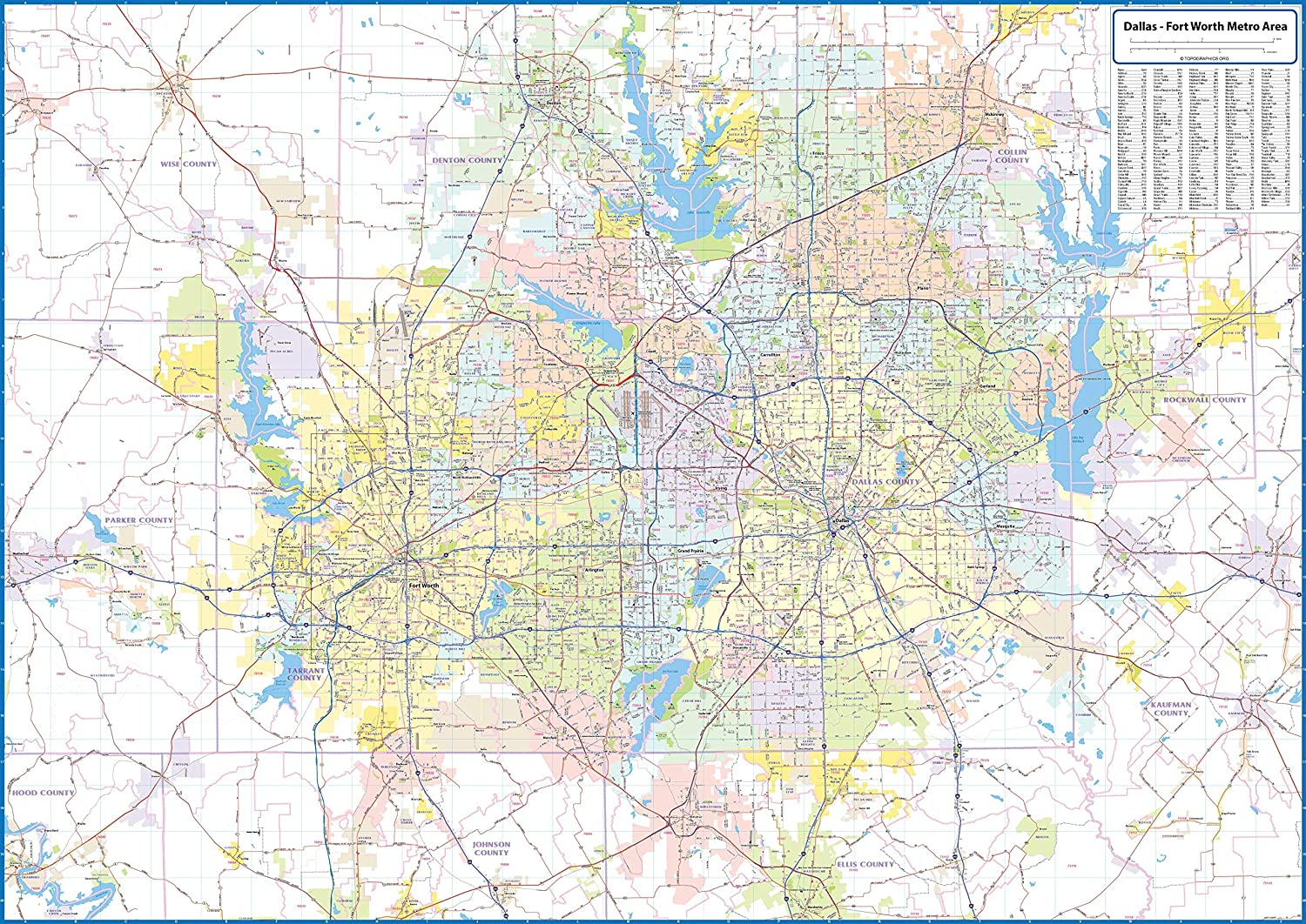 Dallas - Fort Worth Metro Area Laminated Wall Map on abilene area map, washington d.c. area map, dallas city area map, fort worth zip code map, fort myers area map, fort worth tx map, fort lauderdale area map, ft.worth map, fort worth stockyards map, dfw map, dallas tx area map, garland area map, fort worth city map, dallas at&t stadium area map, fort worth zoo map, downtown fort worth map, dallas area map including suburbs, dallas love field area map, harrisburg area map, dallas denton map,