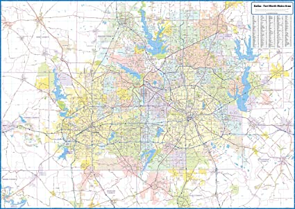 Fort Worth Dallas Map.Amazon Com Dallas Fort Worth Metro Area Laminated Wall Map
