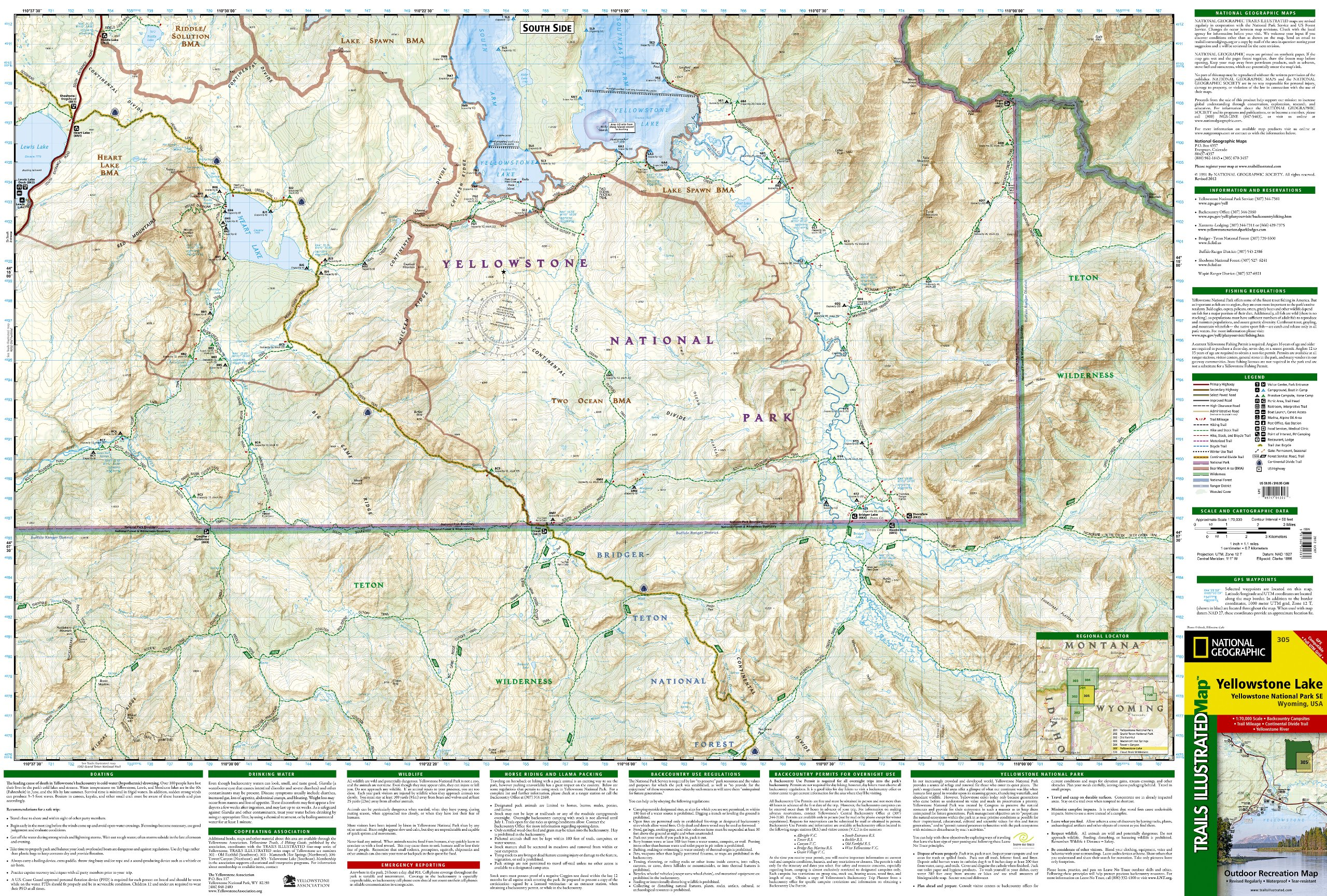 Yellowstone Lake: Yellowstone National Park SE (National Geographic ...
