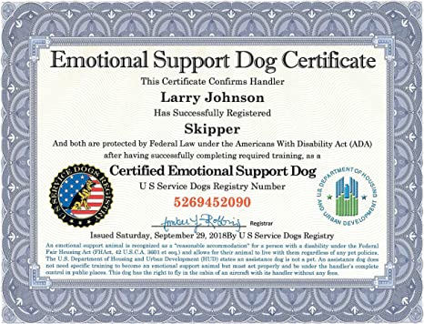 Official Certified Emotional Support Dog Certificate With Leather Presentation Folder Fully Customized With Handler Dog Information Includes Free