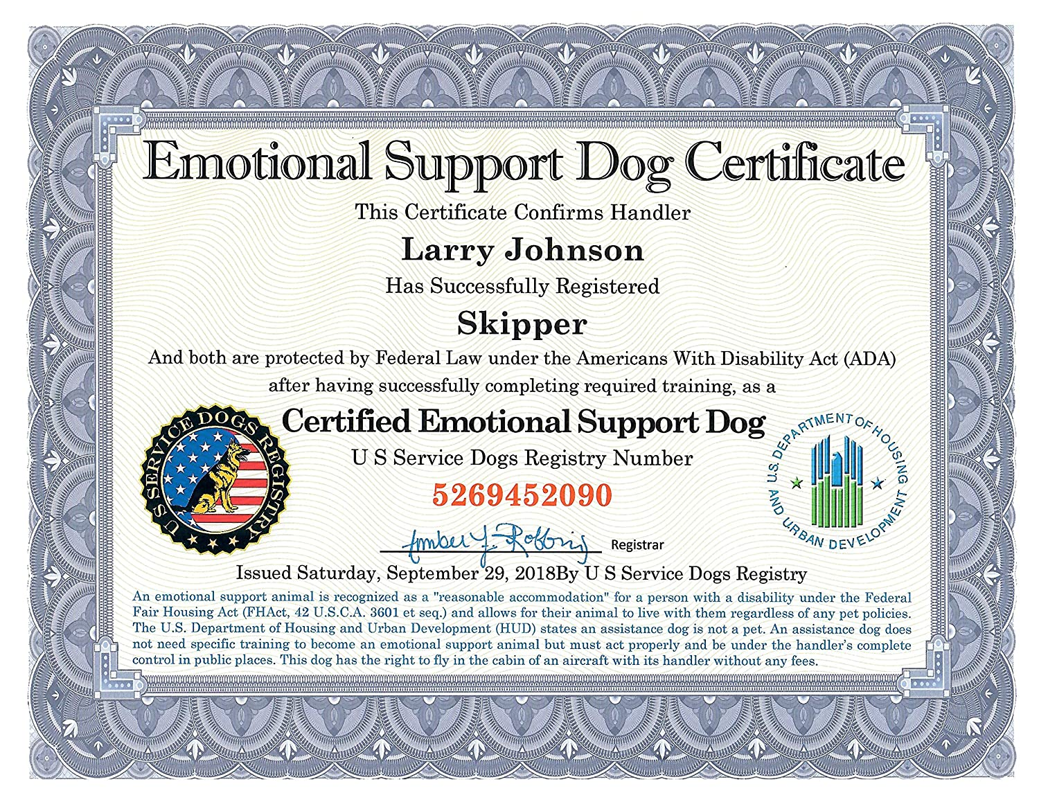 Amazon Official Emotional Support Dog Certificate Leather