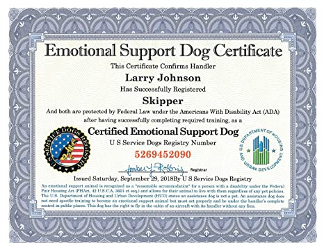 .com : emotional support dog certificate - fully customized ...
