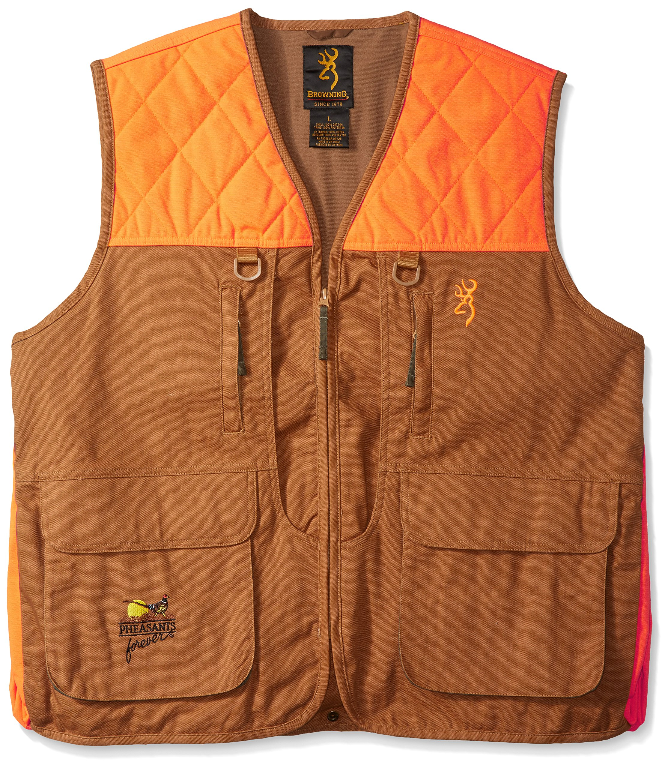 Browning Pheasants Forever Vest, Khaki/Blaze, Large by Browning