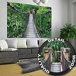 great-art Poster Urwald Hängebrücke - 140 x 100 cm Wandposter Regenwald Holzbrücke Fotoposter Wandbild