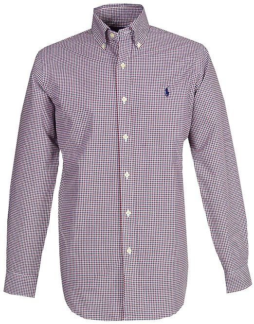 38a00606e11ac Ralph Lauren Men`s Casual Shirt - Red Blue Check  Amazon.co.uk  Clothing