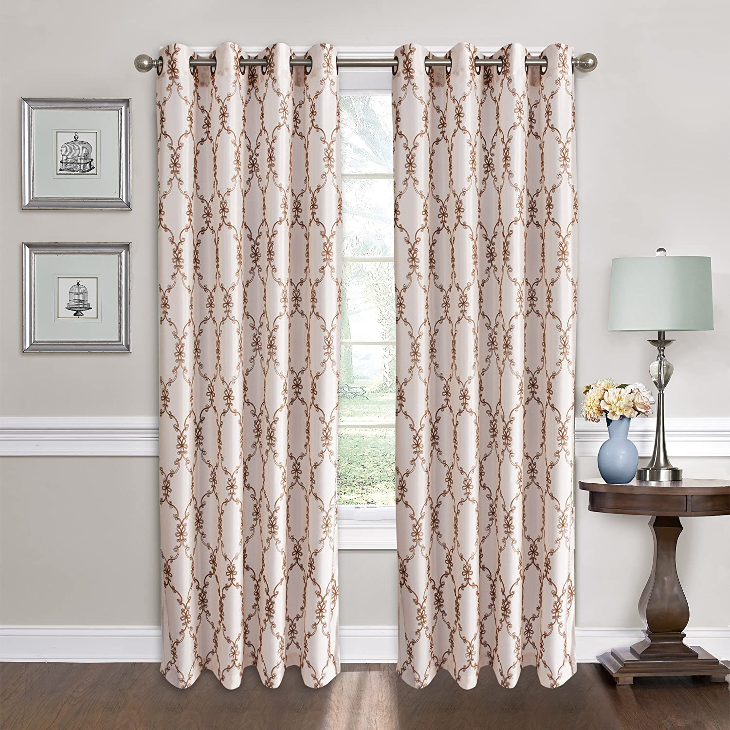 All American Collection New 1 Panel Oval Geometric Floral Design Faux Silk Embroidered Curtain With Grommets Beige