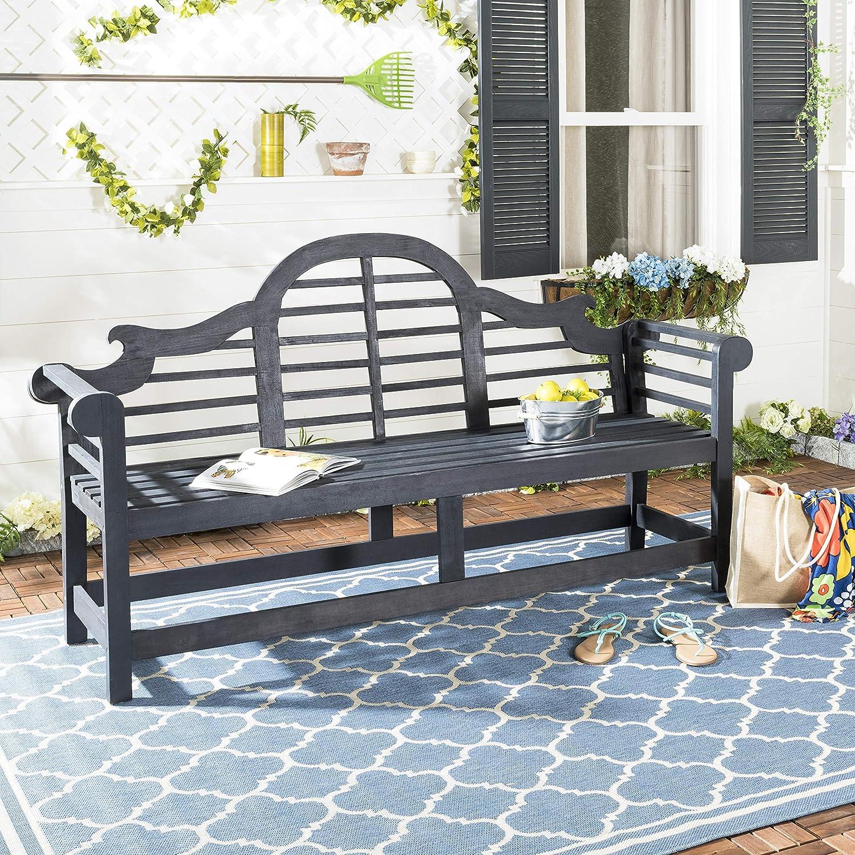 Amazon Com Safavieh Pat6705k Outdoor Collection Khara Grey Bench Dark Slate Gray Garden