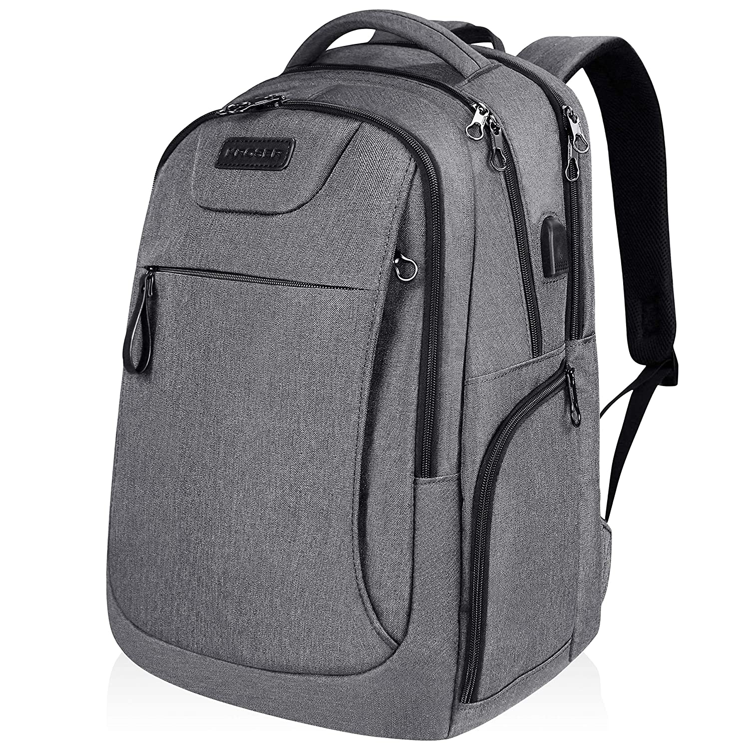 KROSER Laptop Backpack for 15.6-17.3 Inch Laptop Anti-Theft Large Computer Backpack with USB Charging Port Water-Repellent Casual Daypack for Travel/Business/College/Men/Women-Charcoal Black