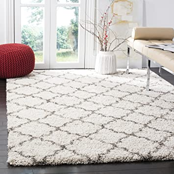 safavieh hudson shag collection sgh282a ivory and grey area rug 8 feet by 10 feet