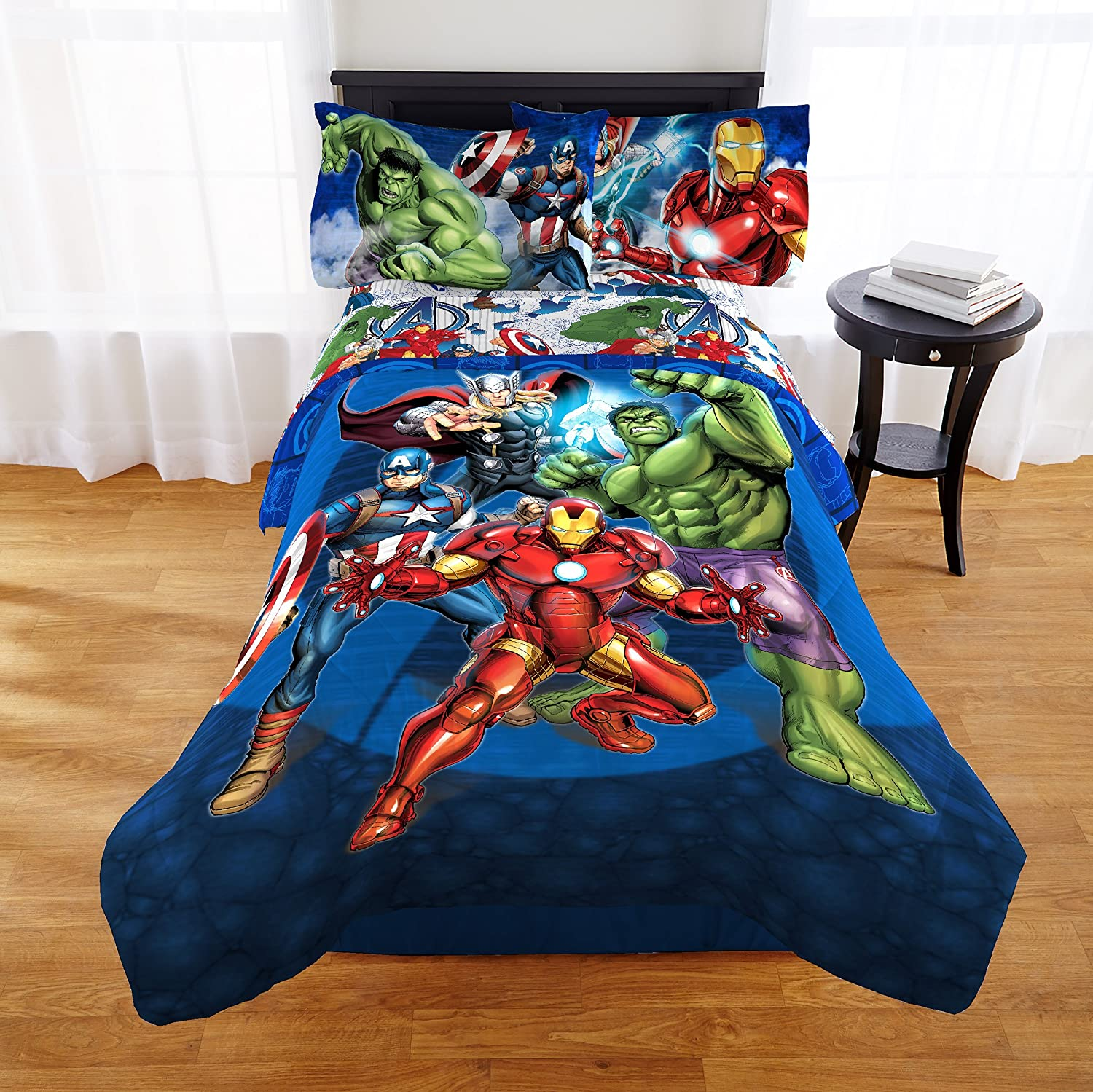 Marvel Avengers Blue Circle Twin/Full Comforter - Super Soft Kids Reversible Bedding features Iron Man, Hulk, Captain America, and Thor