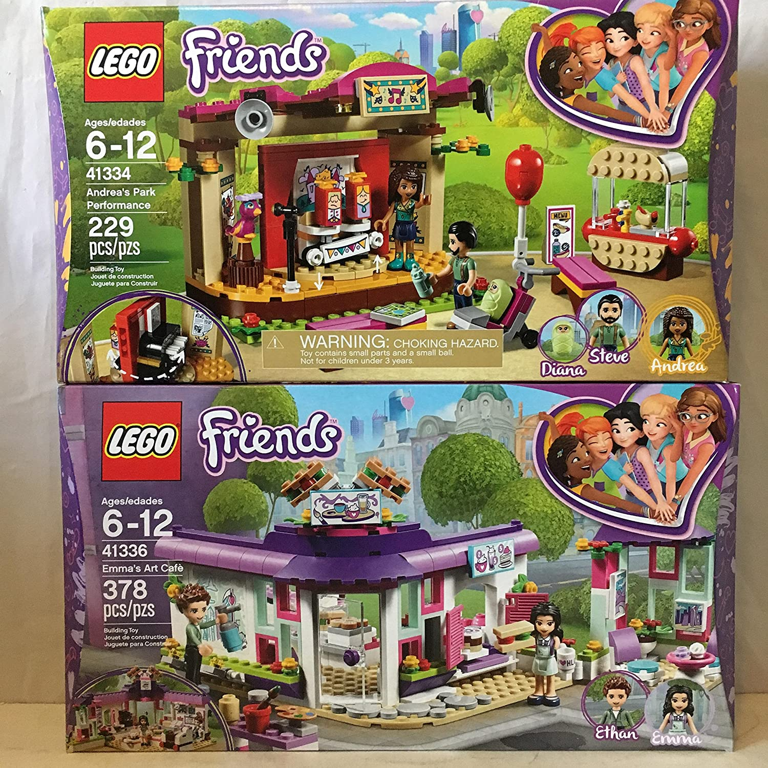 e22942a8a9b Amazon.com  LEGO Friends Emma s Art Café   LEGO Friends Andrea s Park  Performance  Toys   Games