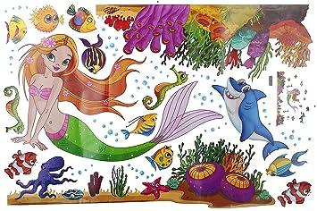 JAXSHION Mermaid Wall Decals   Kids Baby Girl Room Nursery Wall Decor  Removable Under The Sea