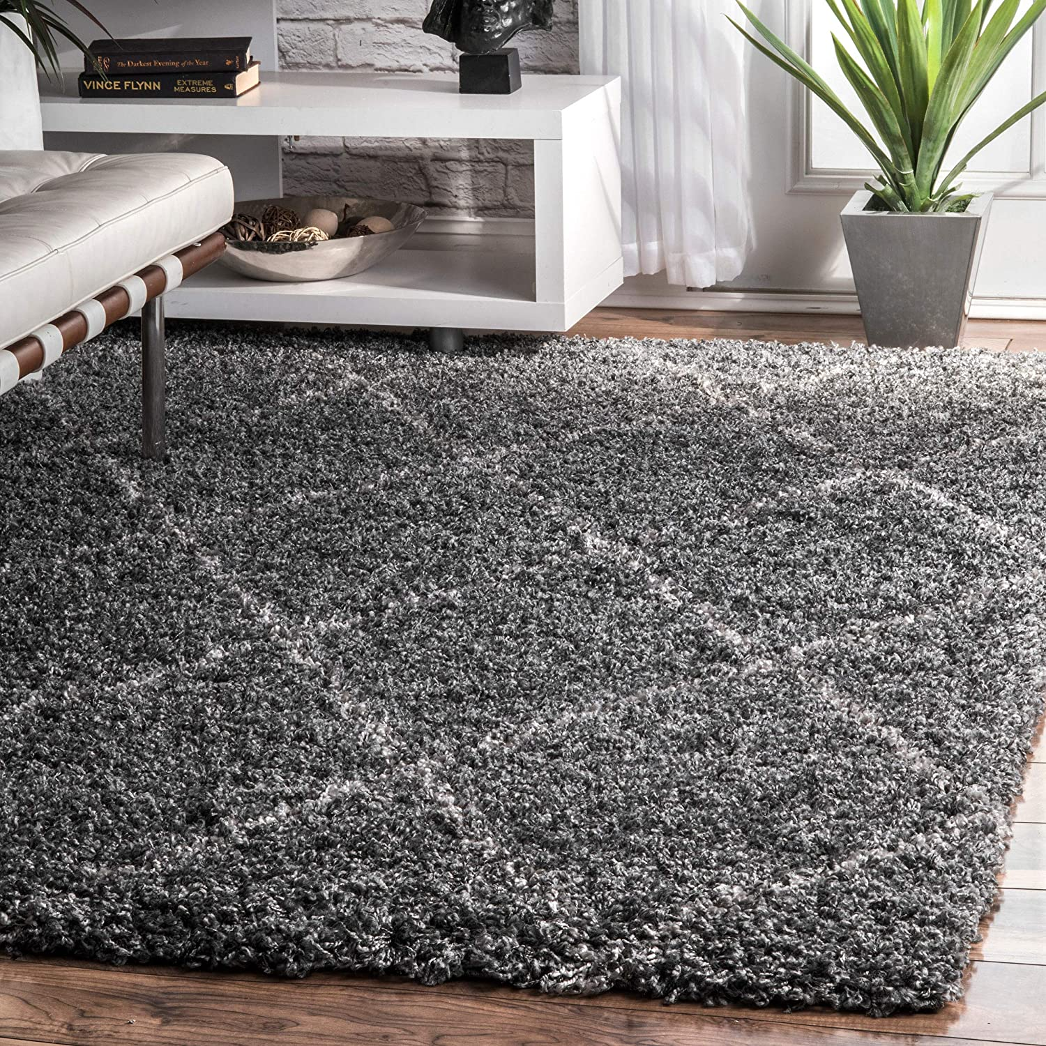 nuLOOM Cozy Soft and Plush Diamond Trellis Shag Area Rug, Grey, 4' x 6' 4' x 6' 200OZEZ04B