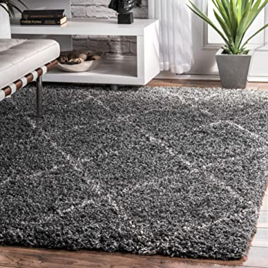 nuLOOM Cozy Soft and Plush Diamond Trellis Shag Area Rug, Grey, 5' 3  x 7' 6